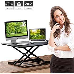 1home Sit-Stand Height Adjustable Desk Converter Standing up Work Station Easy Lift:Maskedking