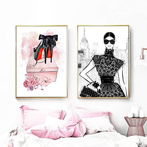 Fashion meisjes jurk rok High Heels muurkunst canvas schilderij merk Nordic poster en prints wandafbeeldingen voor woonkamer decoratie 60x80cmx2 niet ingelijst