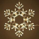 Kringle Traditions 20' Folding Warm White Snowflake Decoration LED Snowflake Lights Large Snowflake Decorations Outdoor Lighted Snowflake (20' Warm White Snowflake)