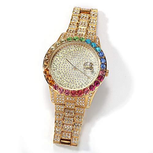 WTZWY Luxury Bling out Colorful Full Diamond Watches - Orologio da Polso con Cinturino analogico al Quarzo Moda Uomo, Orologio con Calendario a Colori Hip Hop,d'oro