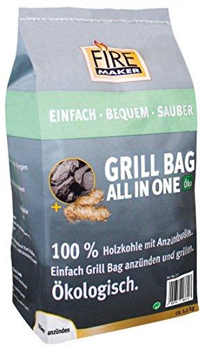 KM Firemaker Holzkohle 1,1 kg; Grillbag All in One; Holzwolle; Grillkohle; Grill; Ökologisch