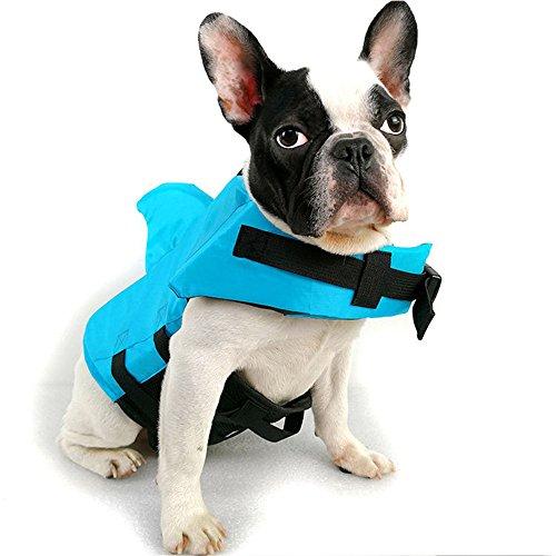 HanDingSM Chaleco Salvavidas del Animal doméstico,Chalecos Salvavidas para Perros,Perros pequeños Shark Pattern Dog Life Jacket (XL, Azul)