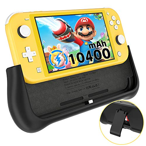 NEWDERY Battery Charger Case for Nintendo Switch Lite, Support PD & QC 3.0 Fast Charging, Built-in 10400mAh Portable Backup Charger Station, Battery Charger Pack with Kickstand & Game Card Slot