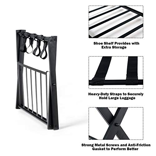 Tangkula Luggage Rack (Set of 4), Folding Metal Suitcase Luggage Stand, Double Tiers Luggage Holder with Shoe Shelf, Luggage Stand for Bedroom, Guest Room, Hotel