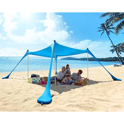 Thelord Pop Up Beach Tent Beach Sun Shelters for 5-6 People Beach Shade with 4 Aluminum Poles UPF...