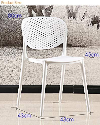 LC-SHBAGS Stoel, moderne doorbroken rugleuning, voor volwassenen, hoge kwaliteit, PP kunststof, Eames, lichte eetkamerstoel wit
