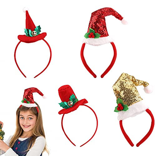 Diadema Navideña 4 Piezas, Gorro Navideño con Gorro de Papá Noel, aro para el Pelo, Diadema Navideña para Niños y Adultos, Decoración de Disfraces