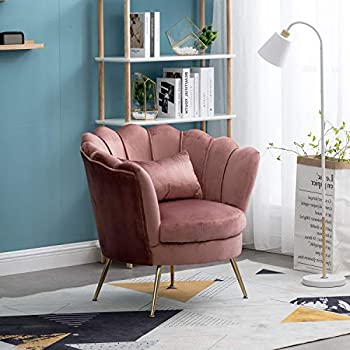 Velvet Accent Chair Upholstered Mid Century Modern Leisure Arm Chair Club Chair with Metal Legs Vanity Chair Guest Chair - Antique Pink