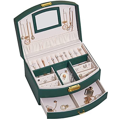 SXBF Caja de Joyería, Joyero de Almacenamiento de Gran Capacidad, Joyero con Cerradura, Almacenamiento Multifuncional,Green