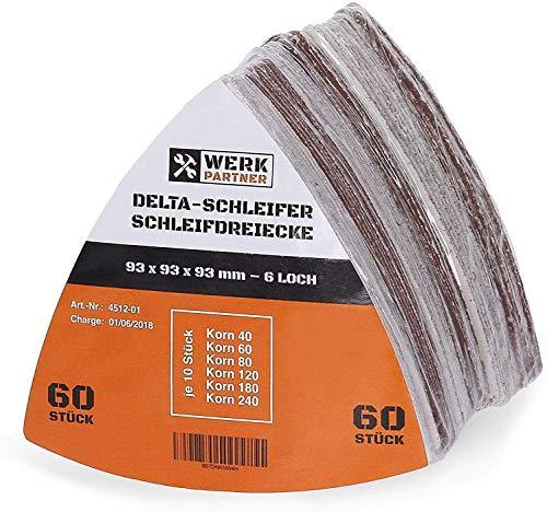 Werk-Partner Dreieck Schleifscheiben 93 x 93mm - 60er Set Deltaschleifer Schleifpapier Klett für Holz, Kunststoff, Gips - je 10 x Körnung 40, 60, 80, 120, 180, 240 für Deltaschleifer & Multischleifer