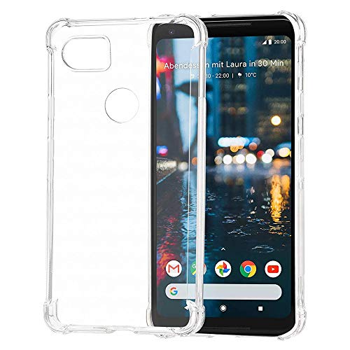 Google Pixel 2 XL Clear Shock Proof Case with 4 Reinforced Corner Cushions Soft TPU Silicone Shock Absorption Bumper Pixel 2XL CoverClear