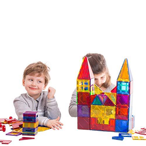 CosmicToys Magnetische Bausteine Set von 72 Teilen Pädagogisches Lernspielzeug für Kinder ab 3 Jahren Farbige Bauklötze mit starken Magneten für Jungen und Mädchen