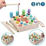 Symiu Holzspielzeug Angelspiel Montessori Lernspielzeug Magnettafel Kinderspielzeug Geschenk ab Kinder Mädchen Jungs 3 Jahre (Angeln)