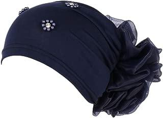 Dainzuy Women Solid Beading Flower India Hat Muslim Wrap Chemo Cap Hat Cancer Chemo Beanie Scarf Turban Wrap Cap