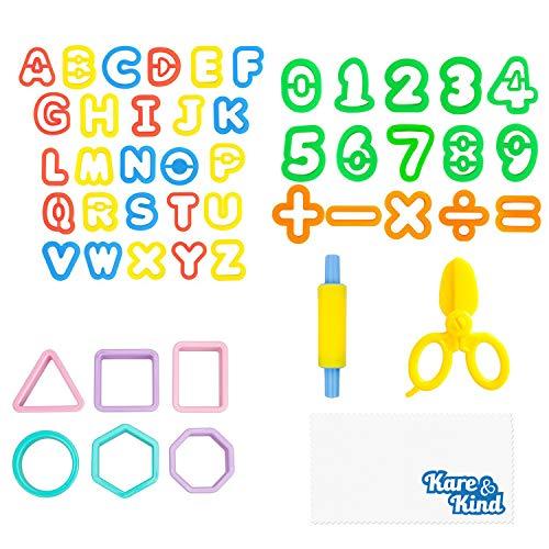 Kare & Kind Kit de Herramientas para Plastilina 49 x Herramientas de Plastilina o Macilla Letras, Números y Formas Básicas – para Niños, Pequeños y Prescolares – Excelente Regalo