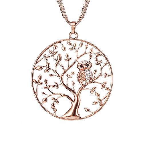 Lange Halskette für Frauen, Baum des Lebens mit Eule Anhänger Halskette für Mädchen Rose Gold und Silber Halskette mit CZ Crystal Kette Halskette (Roségold)