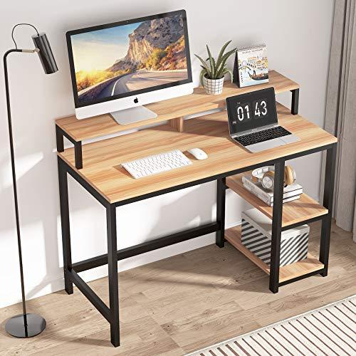 Tribesigns Biurko komputerowe ze stojakiem na monitory, nowoczesne biurko do pisania duża stacja robocza komputer laptop biurko stół do gier z 2-poziomowymi półkami do domu (jasny klon)