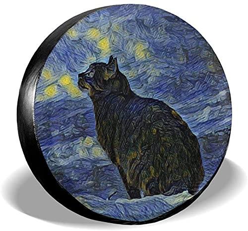 MODORSAN Galaxy Cat - Funda para llanta de Repuesto,poliéster,Universal,de 17 Pulgadas,para Rueda de Repuesto,para Remolque,RV,SUV,Rueda de camión,camión,Autocaravana,Accesorios de Remolque de Viaje