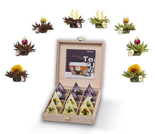 Creano Teelini thee bloemen in kopjesformaat, cadeauset in houten theekist, 12 theebloemen in 8 variëteiten - Witte Thee & Zwarte Thee