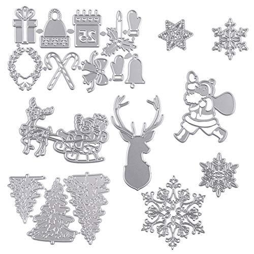 FHzytg 20 Stück Stanzschablonen Stanzen Weihnachten, Stanzmaschine Stanzschablone Stanzformen Weihnachten, Weihnachten Stanzschablone Set Stanzschablonen für Stanzmaschine