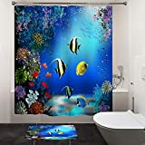 HIYOO Bathroom Tropical Underwater Cartoon Fish Shower Curtain with Hooks, Ocean Sea Seabed Coral Reef Design Bathtub Shower Curtain Sets, Excellent Waterproof Fabric - Happy Fish 72' W x 72' L