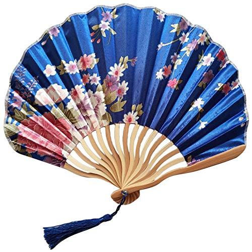 GHDR Abanico Plegable,Ventiladores De Mano Grandes Azul Marino Plegables Japoneses Chinos para Fiestas De Baile Regalos De Boda Decoración De Bricolaje Decoraciones para El Hogar (Color G)