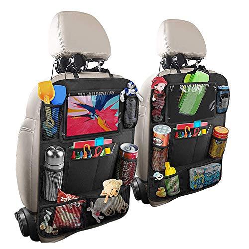 OUZHOU Protección del respaldo del coche con bolsillo de la alfombrilla protector del asiento trasero protector de peldaños con organizador para el asiento trasero tejido Oxford impermeable