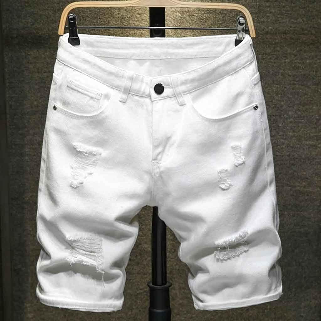 CFSNCM 2020 Summer New Men's Ripped Denim Shorts Classic Style Black White Fashion Casual Slim Fit Short Jeans (Color : White, Size : 36)