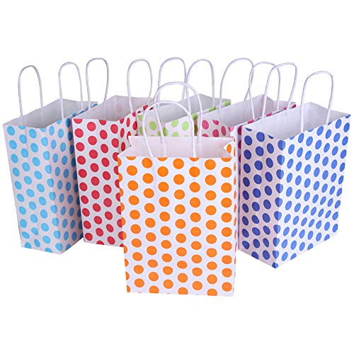 24 Pieces Kraft Paper Cute Dots Party Favor Bags with Handle Assorted Colors (Cute Dots)