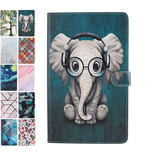 Tablet Case for Universal 10 Inch 9.6 9.7 10.1 10.2 10.5 inch Leather Wallet Case Samsung Huawei Apple Lenovo Animal Marble Effect Pattern Flip Cover - Elephant