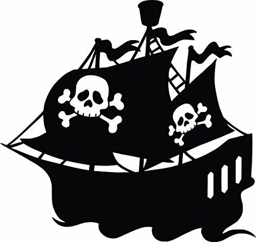 Bateau de pirates – Pirate garçons Autocollant mural en vinyle pour décoration intérieure ou chambre d'enfant – 50,8 x 50,8 cm, noir, FBA161 20x20 - Black