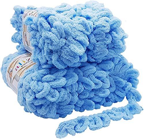 Alize Puffy 5 x 100 Gramm Strickwolle, 500 Gramm Fingerstrick - Wolle super Bulky, Schlaufenwolle, Stricken ohne Nadel (hellblau 183)