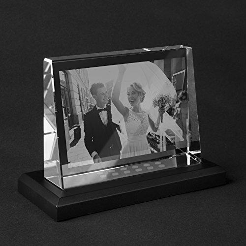 Personello® Glasfoto mit LED, Dein Foto in Glas graviert, Fotogeschenk, L=140x105x38mm, beleuchtet mit Leuchtsockel