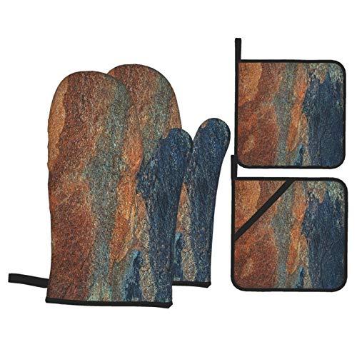 Juego de 4 Guantes y Porta ollas para Horno Resistentes al Calor Estructura de Relieve de patrón de Azulejos de Granito de cerámica para Hornear en la Cocina,microondas,Barbacoa