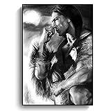 Blanriguelo Leinwandbilder Indian Strong Man Schwarz Weiß