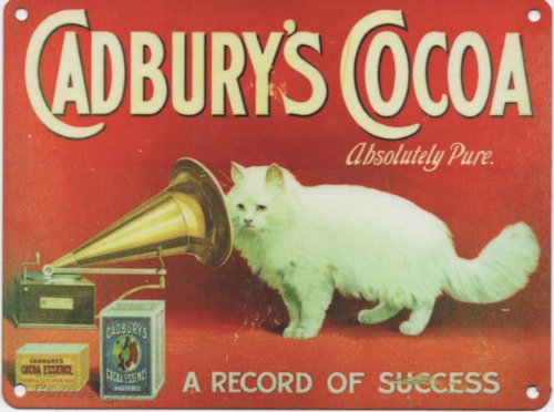 FRANSE VINTAGE METAAL SIGN 20x15cm RETRO AD CADBURY'S COCOA CAT CHOCOLAAT
