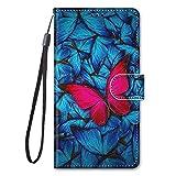 Miagon Full Body Flip PU Leder Schutzhülle für Samsung Galaxy M51,Bunt Muster Hülle Brieftasche Hülle Cover Ständer mit Kartenfächer,Rot Schmetterling