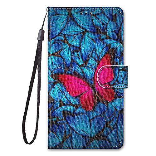 Miagon Full Body Flip PU Leder Schutzhülle für Samsung Galaxy S7,Bunt Muster Hülle Brieftasche Case Cover Ständer mit Kartenfächer,Rot Schmetterling