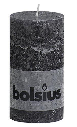 Rustikale 103867590331-Stumpenkerze aus Paraffinwachs, Anthrazit