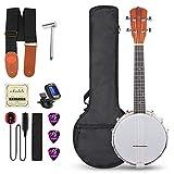 Vangoa Banjo Uke, 4 String Banjolele Concert 23 Inch Sapele Banjo Ukulele with Beginner Kit