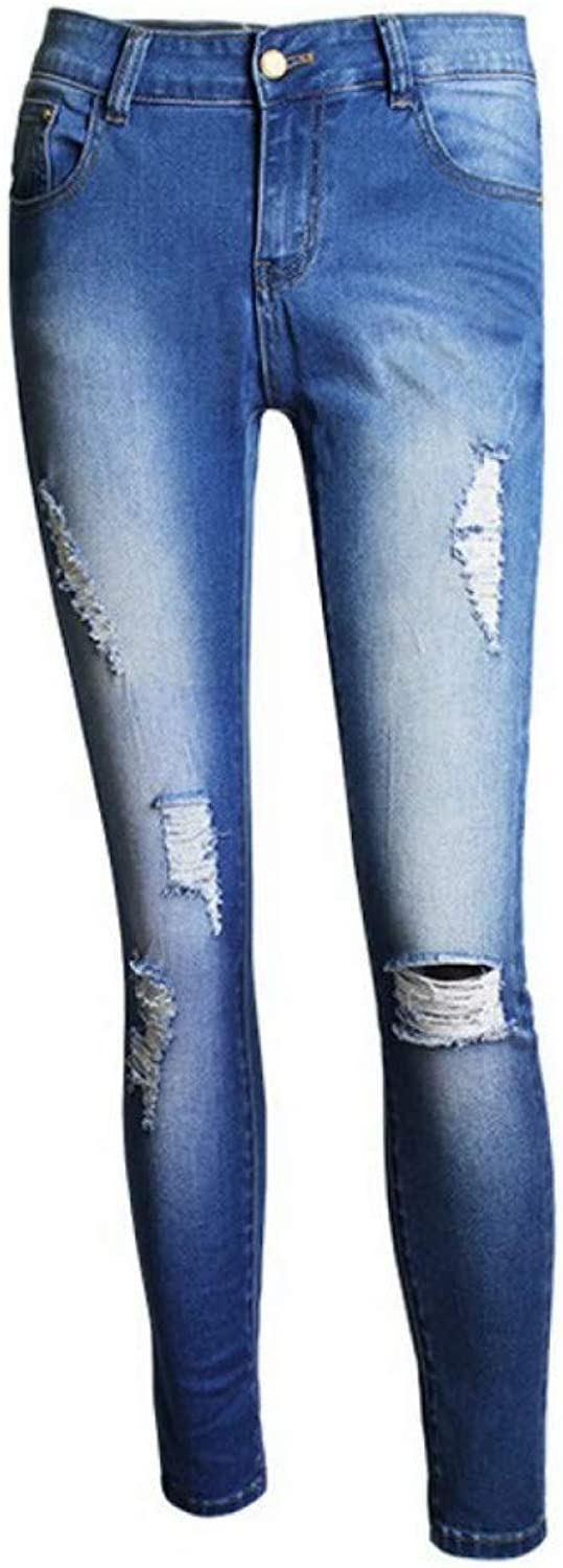 FSDFASS Jeans Fashion Ladies Plus Size Cotton Stretch Denim Pants Womens Ripped Knees Skinny Jeans for Women