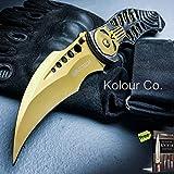8' Skull Spring Assisted Folding Pocket Knife Karambit Claw Combat Tactical Carbon Steel Razor Sharp Blade Knife