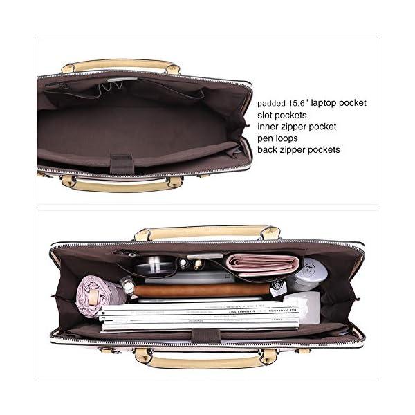 CLUCI Briefcase for Women Oil Wax Leather 15.6 Inch Laptop Business Vintage Slim Ladies Shoulder Bag 4