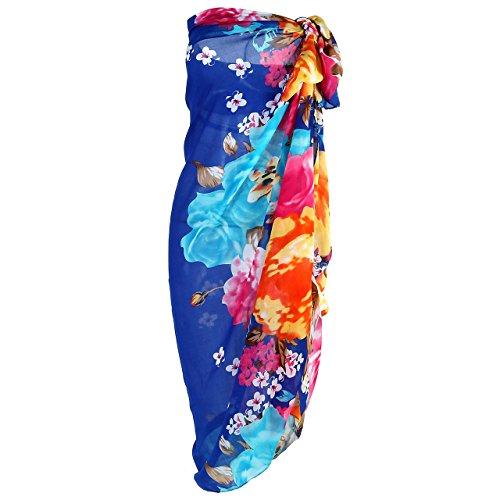FALETO Paréo Sarong Femme Fille Cache-Maillot Écharpe Robe Cover Up Couverture de Bikini Maillot de Bain d'Été Plage Piscine Léger(Bleu-145 * 140cm)