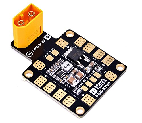 Matek PDB , Power Distribution Board , 6 ESC Output ( Input 9-18V , PDB 4*25A or 6*15A , BEC 5V&12V , with XT60 , 1.6mm PCB ) for X or H Design FPV Racing RC Drone Quadcopter by LITEBEE