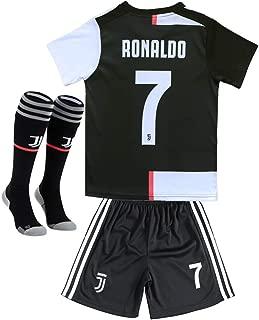 JUVE-JS 3Pcs Juventus #7 Cristiano Ronaldo Home Soccer Shirt & Shorts & Socks 19-20 for Kids and Youth White/Black