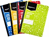 AmazonBasics Wide Ruled Composition Notebook, 100 Sheet, Assorted Marble Colors, 4-Pack...