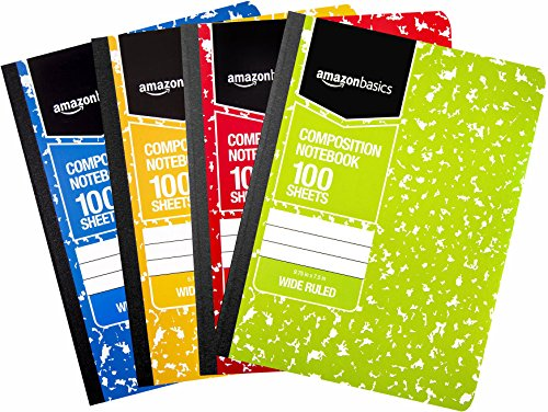 Amazon Basics Wide Ruled Composition Notebook, 100 Sheet, Assorted Marble Colors, 4-Pack