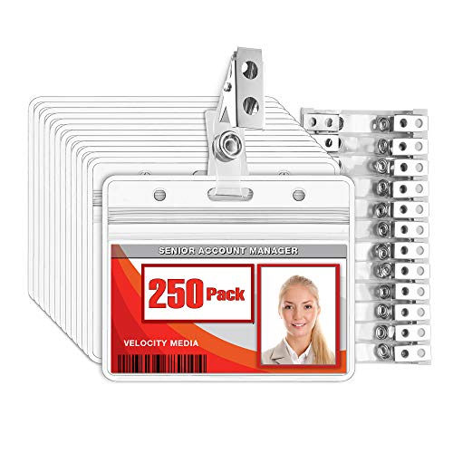 MIFFLIN Horizontal Plastic Card Holder with Metal Clip and Vinyl Straps (Clear, 2.25x3.5 Inch, 250 Pack), Waterproof PVC ID Name Badge Holder with Clip