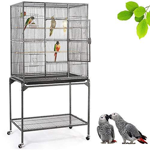 Yaheetech Gabbia Voliera Grande per Uccelli Pappagalli Roditori in Metallo e Legno con Piedistallo Ruote Posatoi e Ciotole Nera 81 x 47 x 160 cm